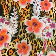 Leopardblomstret lycra Fluo Orange