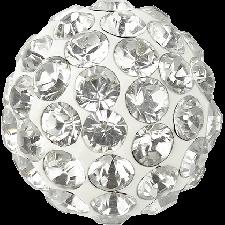 Halv perle med rhinsten - Crystal - 10 mm. - Swarovski