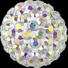 Halv perle med rhinsten - Crystal AB - 12 mm. - Swarovski