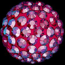 Halv perle med rhinsten - Light Siam Shimmer - 12 mm. - Swarovski