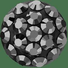 Swarovski - Halv perle med rhinsten - Jet Hematite