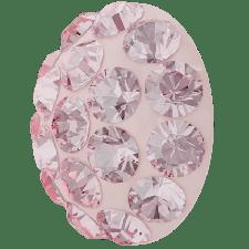 Halv perle med rhinsten - Light Rose - 10 mm. - Swarovski
