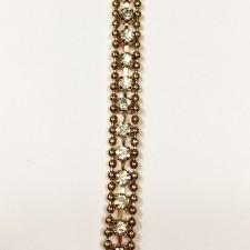 Metalkæde Gold med crystal sten 0,6 cm.