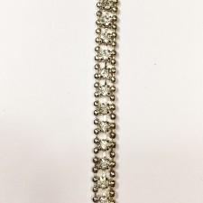 Metalkæde Silver med crystal sten 0,6 cm.