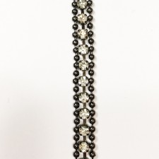 Metalkæde Black med crystal sten 0,6 cm.