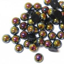 8 mm.  Black AB - Halve perler
