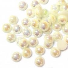 8 mm. Creme AB - Halve perler
