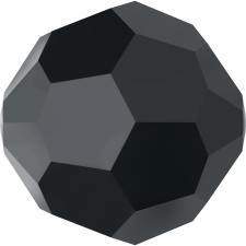 Crystal round bead 8 mm. Jet Hematite