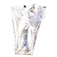 Glimmer bukser str. S - Hvid/sølv hologram